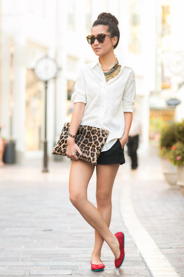 Shop this look for $79:  http://lookastic.com/women/looks/button-down-shirt-and-clutch-and-shorts-and-ballerina-shoes-and-statement-necklace/1240  — White Silk Button Down Shirt  — Tan Leopard Leather Clutch  — Black Shorts  — Red Leather Ballerina Shoes  — Gold Statement Necklace