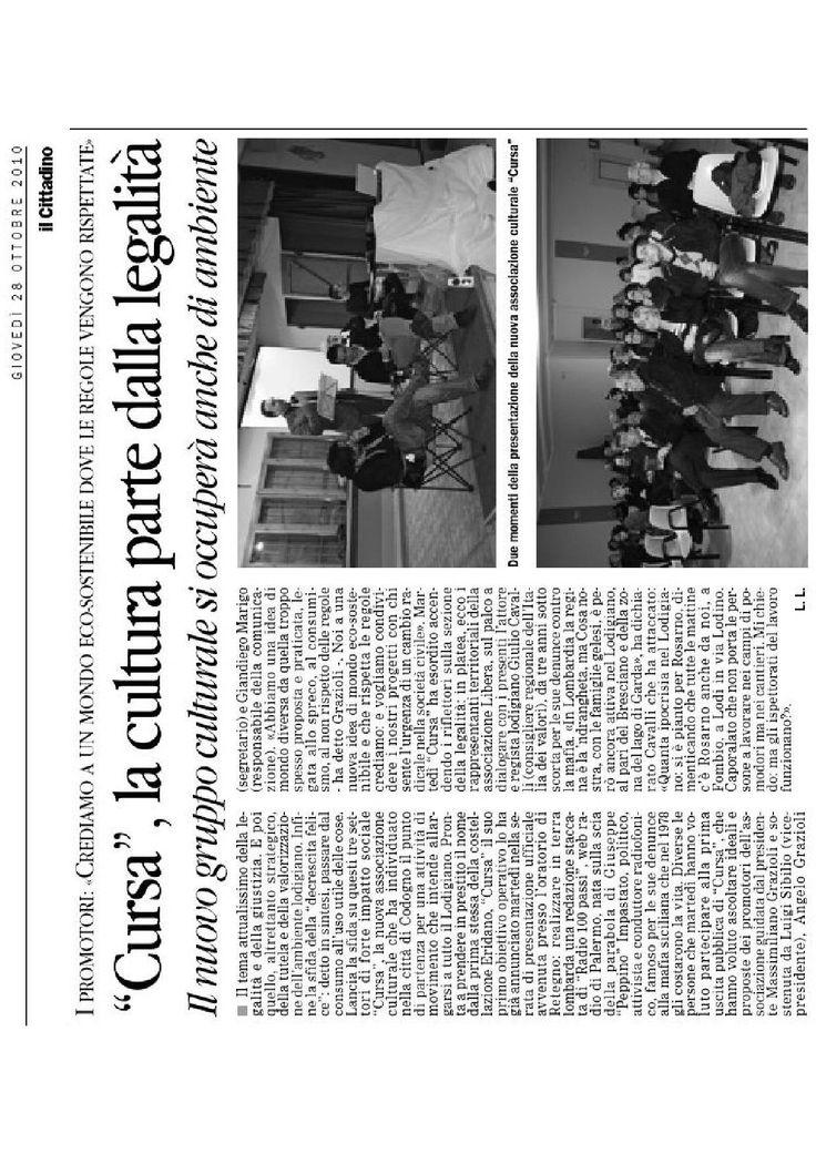 """Articolo tratto da """"il Cittadino """" di giovedì 28 ottobre 2010.  Presentazione con Giulio Cavalli del suo libro """"Nomi, cognomi e infami""""."""