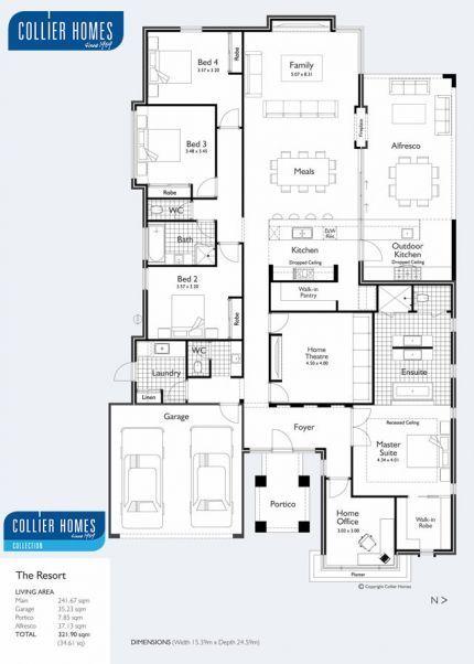 Floor Plan - Kitchen/outdoor kitchen idea, minor bedroom wing.