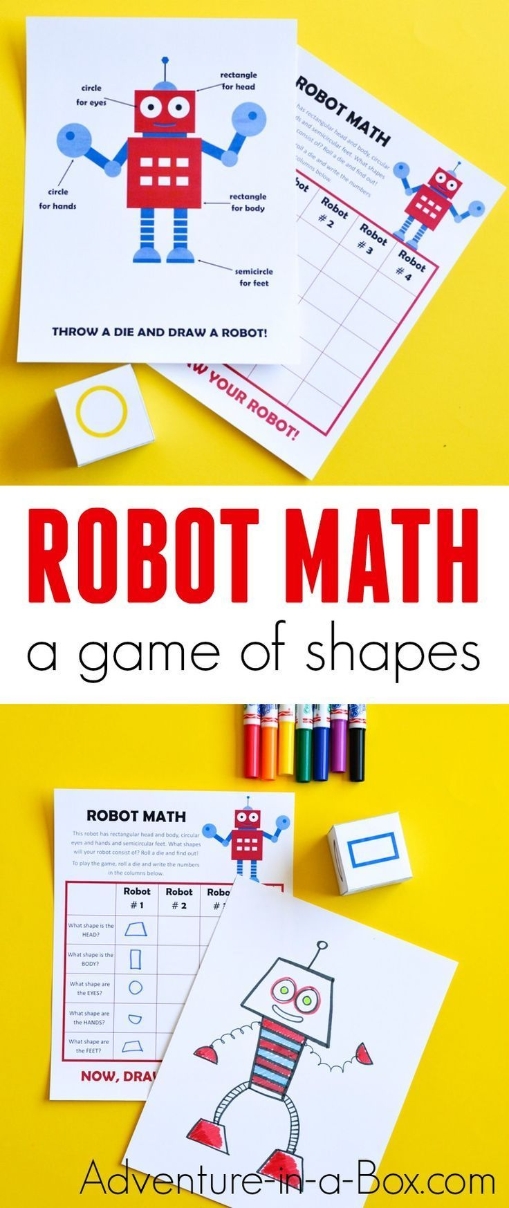 Robot Math is a printable game that challenges children to draw while working on simple geometry – shape drawing and recognition. Roll a die and see what kind of robot you will draw. #homeschool #mathforkids #preschool #kindergarten