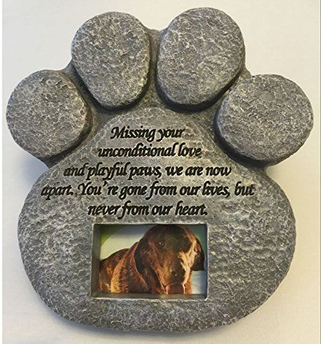 Paw Print Pet Memorial Stone -- Features a Photo Frame and Sympathy Poem - Dog - - http://pets.goshoppins.com/pet-memorials-urns/paw-print-pet-memorial-stone-features-a-photo-frame-and-sympathy-poem-dog/