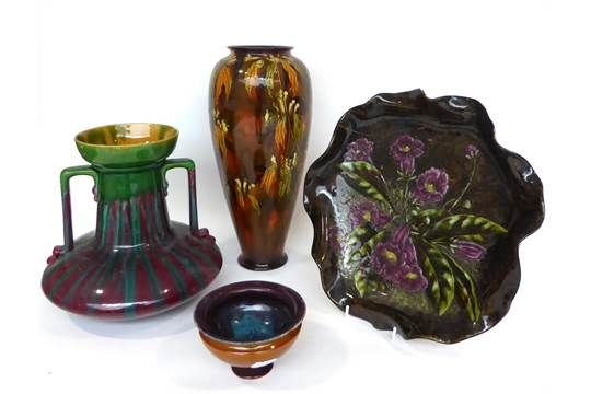 492 911 1050 1469 A Linthorpe Pottery Twin-Handled Vase, with streaky purple and green glaze, imp