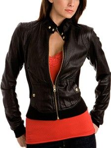 Women Jacket Leather - Coat Nj