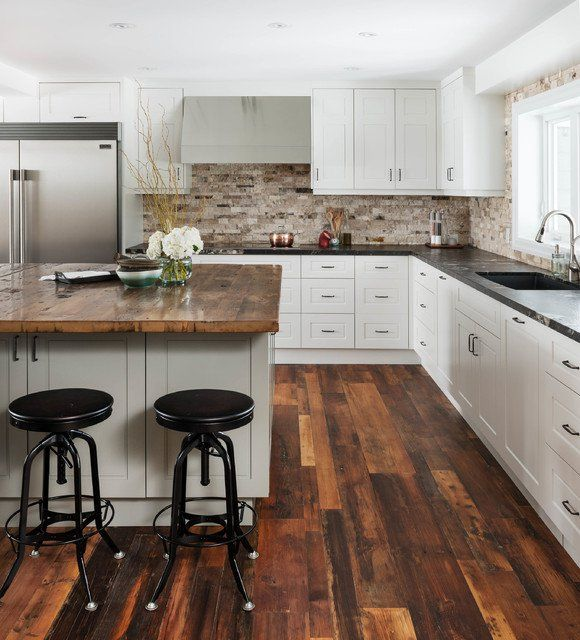 Charming White Kitchen with Countertop Made Of Reclaimed Wood