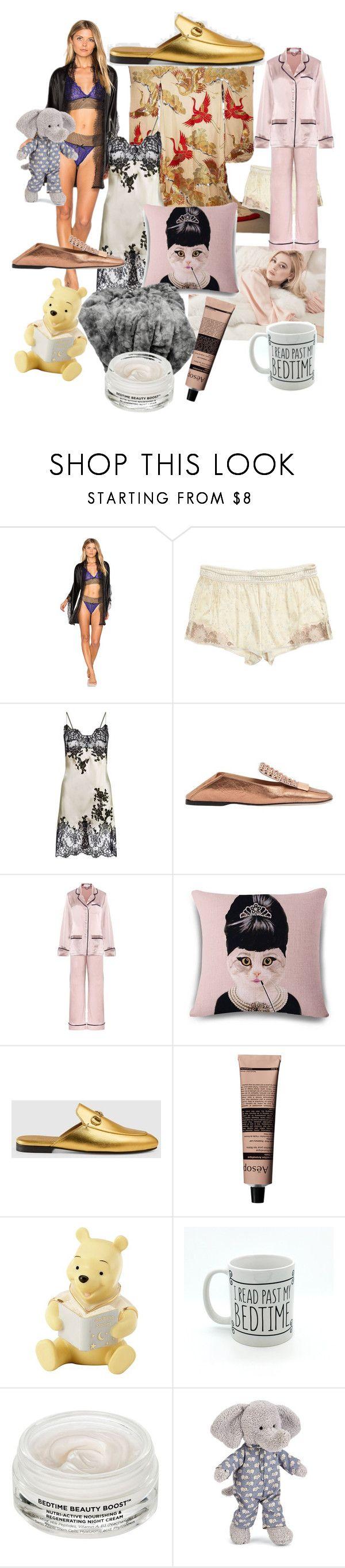 """Bedtime"" by princess-darjeeling ❤ liked on Polyvore featuring KissKill, Calypso St. Barth, Marjolaine, Sergio Rossi, Olivia von Halle, Gucci, Aesop, Lenox, Oskia and Jellycat"