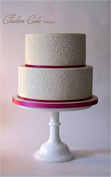Lace stenciled wedding cake ~ hand done all edible