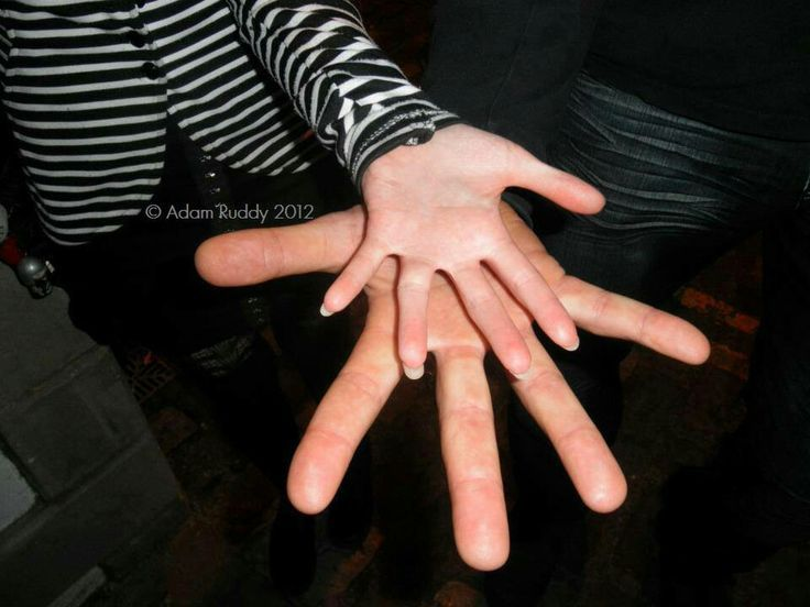 Maisie Williams' (Arya) and Rory McCann's (the Hound) hands