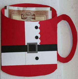 Santa mug with drink mixChristmas Crafts, Gift Ideas, Cute Ideas, Cards Holders, Gift Cards, Hot Chocolates, Christmas Gift, Hot Cocoa, Drinks Mixed