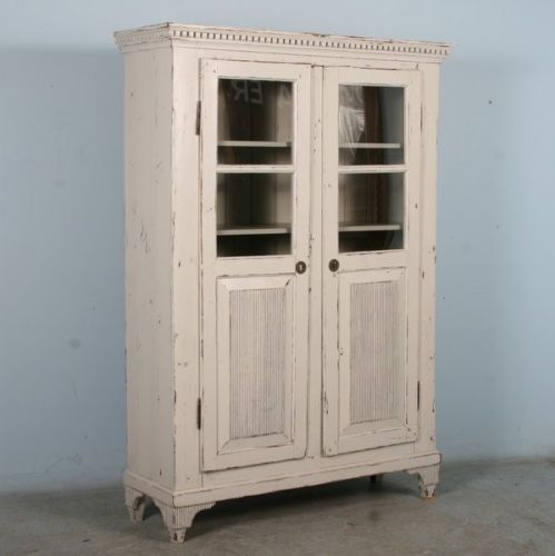 Antique Swedish Gustavian Style White Cabinet Bookcase Glass and Panel Doors   eBay