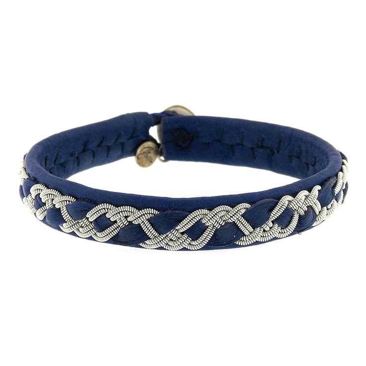 Handmade single wrap Bracelet created in blue leather with woven Pewter and horn clasp by Maria Rudman. 17.5cm - View #1