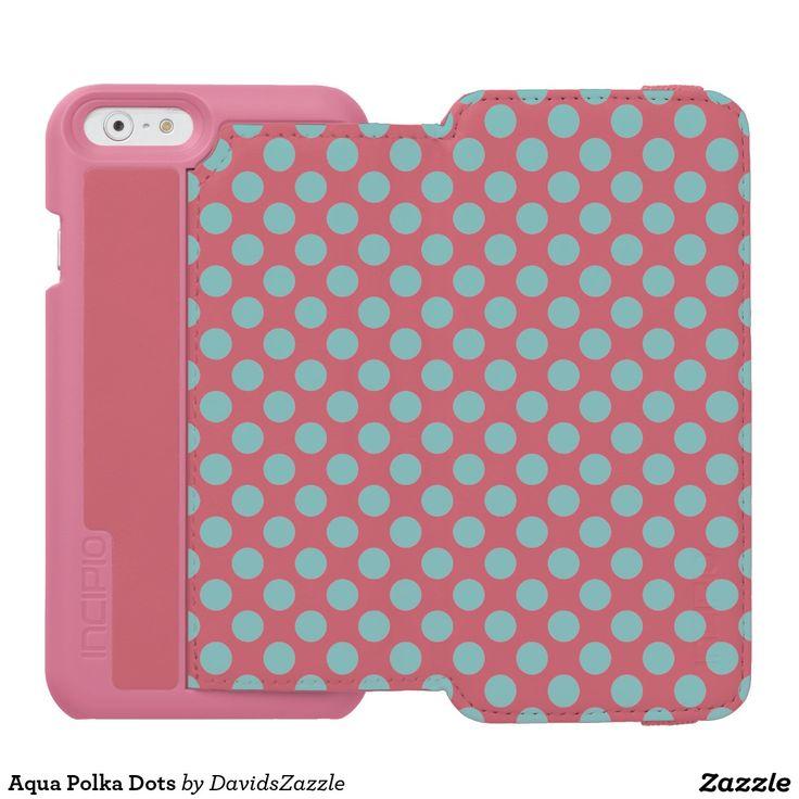 Aqua polka dots phone wallet available on many products