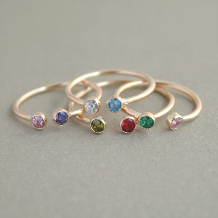 dual birthstone ring in GOLD. two birthstone by MeadowbelleMarket, $66.00