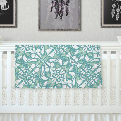 "KESS InHouse Swirling Tiles Teal Throw Blanket Size: 60"" L x 50"" W"
