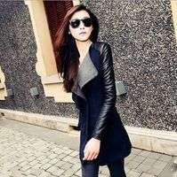 High Quality Autumn Winter New In Black Navy Blue Red Contrast PU Leather Sleeve Zipper Woolen Coat For Woman Size S- XL