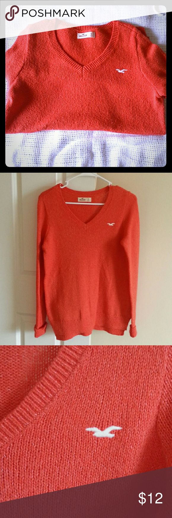 Hollister oranger knit jumper Hollister size small orange jumper worn only once. Very good condition. Hollister Sweaters Cardigans