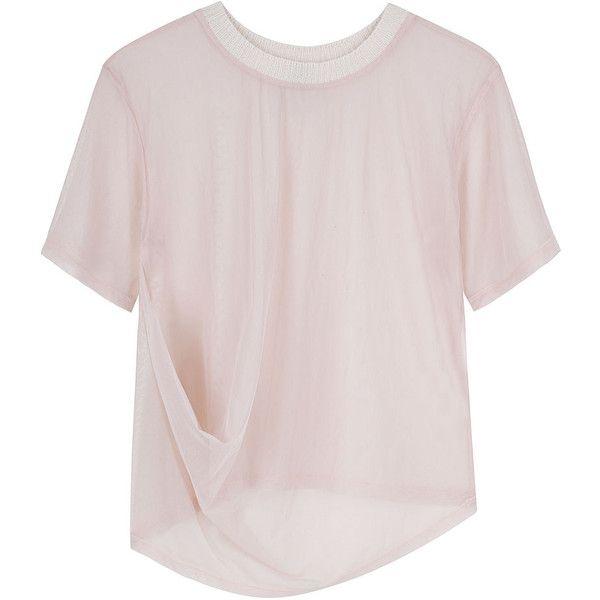 Tom Scott Draped Mesh Tee. ($145) ❤ liked on Polyvore featuring tops, t-shirts, shirts, tees, women, short-sleeve shirt, pink tee, mesh shirt, crewneck t shirt and sheer shirt