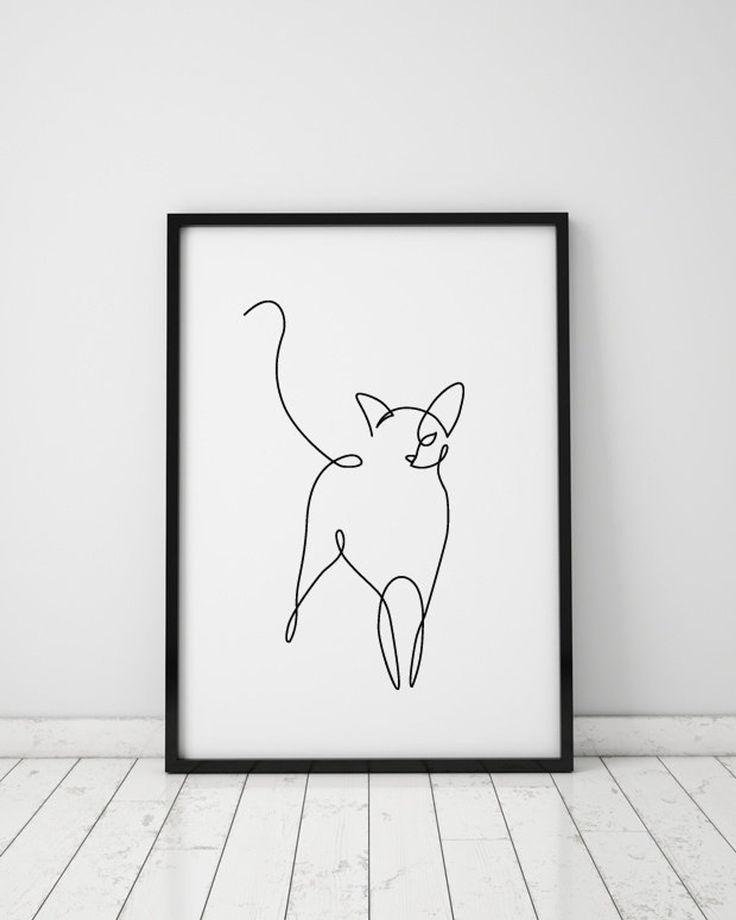 Abstract Cat A Line Drawing Wall Decor Print Miimalistic
