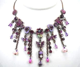 Vintage Style purple enamel drop necklace