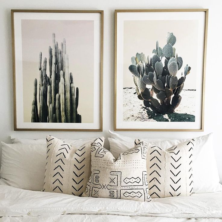 Mae woven Mudcloth pillows and cactus prints. @maewoven on Instagram.