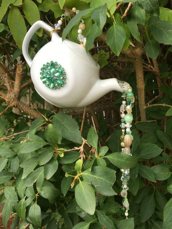 Tea Pot Garden Art Hanging Tea Pot Ornament Repurposed by mscenna