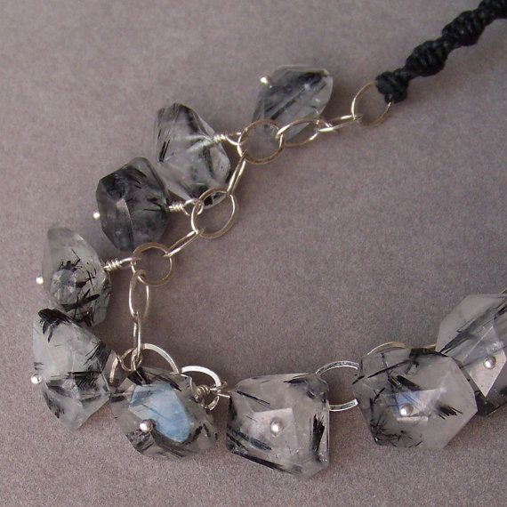 Faceted Chunky Black Rutile Quartz necklace by silverlyjewelry, $55.00: Quartz Necklace