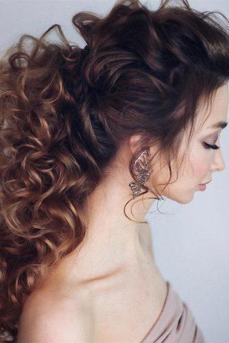 Oh So Perfect Curly Wedding Hairstyles ★ curly wedding hairstyles long brown hair half up half down swept back lenabogucharskaya #curlyweddinghair