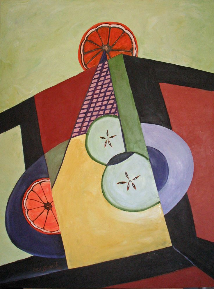 Inside Apples and Oranges. Large abstract panting of a fruit bowl on a coffee table'