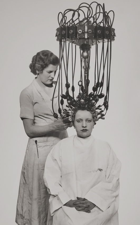 Hair Dryer Getting A Perm 1935