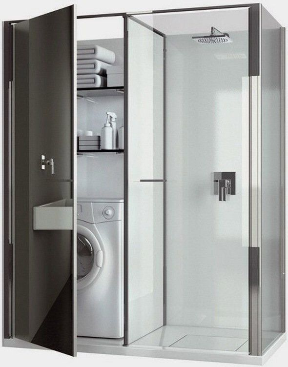 Compact Laundry / Shower Cabin Combo for Small Spaces.