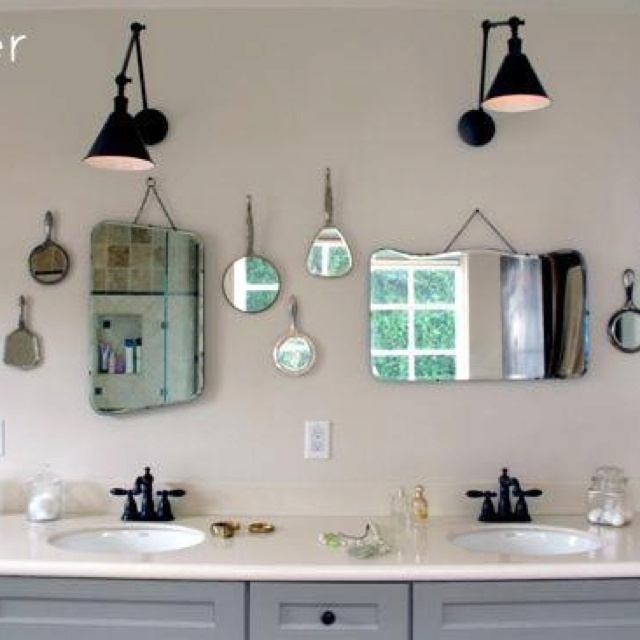 Bathroom Mirrors Layered With Vintage Hand