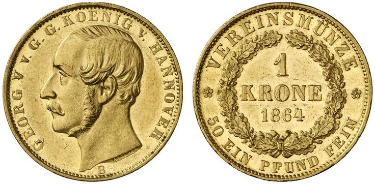 AV 1 Krone. Germany Coins, Hannover, Georg V. 1851-1866. 1864 B, Hannover mint. 11,11g. F 1183. Almost EF. Price realized 2011: 900 USD.