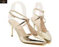 2015 новое поступление горячей мода лето сексуальные тонкие высокие каблуки туфли на высоком каблуке горный хрусталь водонепроницаемый острым носом обувь женская свадебные сандалии QA