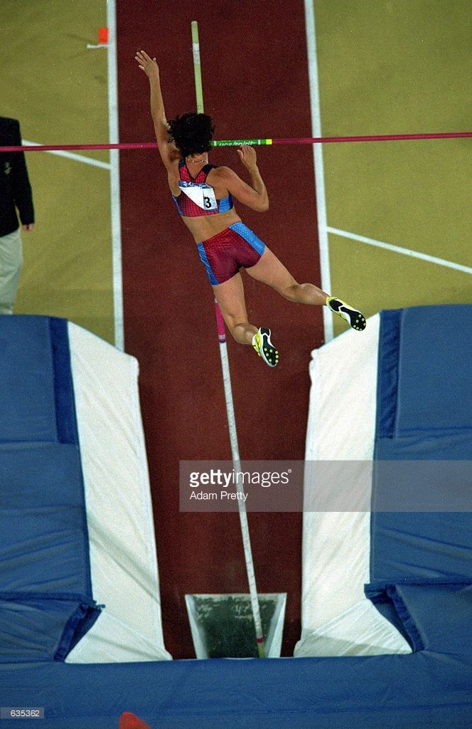 An above shot of Stacy Dragila of the USA jumps during the Women's Pole Vault…