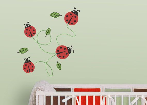 Ladybugs Nursery Wall Decal (Ladybug Wall Decal, Ladybug Decal, Ladybug Decor). $30.00, via Etsy.