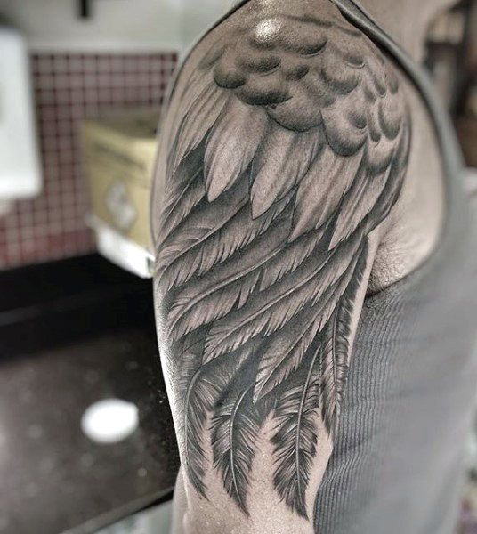 Realistic Wings On Arm Male Tattoo