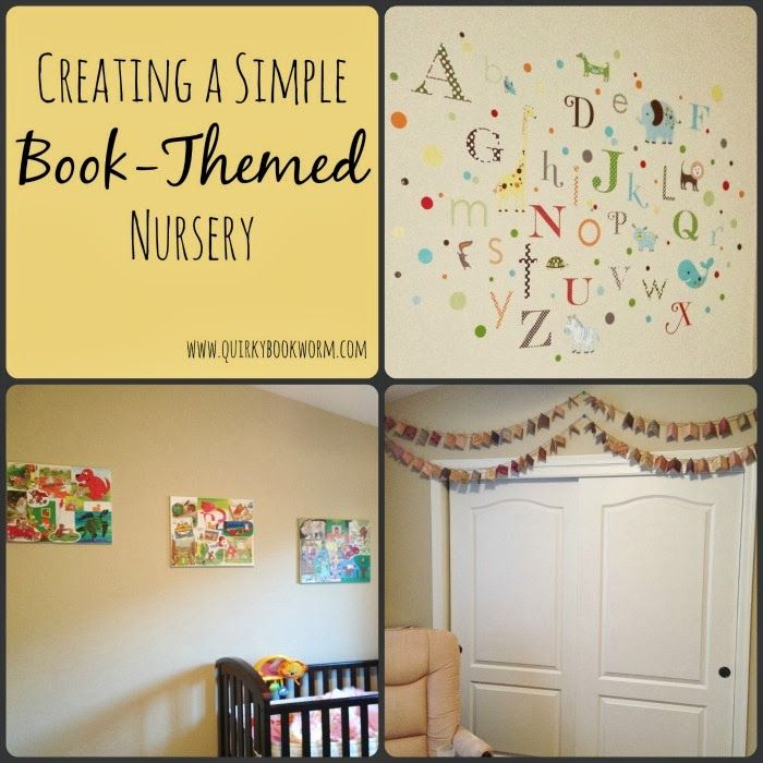 Quirky Bookworm: Creating a Simple Book-Themed Nursery // Making easy book collage art, a book garland, and an alphabet wall for a baby nurs...
