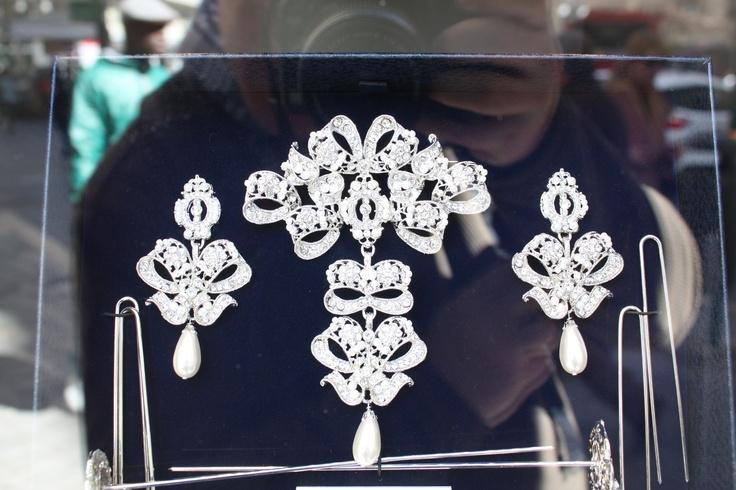 Jewellery worn by 'Falleras' for the Fallas Festival in Valencia, Spain