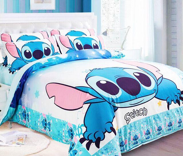 New Lilo Stitch Bedding Sets Blue Boys Bed Set Designer King Queen
