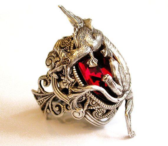 Silver Dragon Ring  Red Swarovski Gothic Ring  by LeBoudoirNoir, €68.00