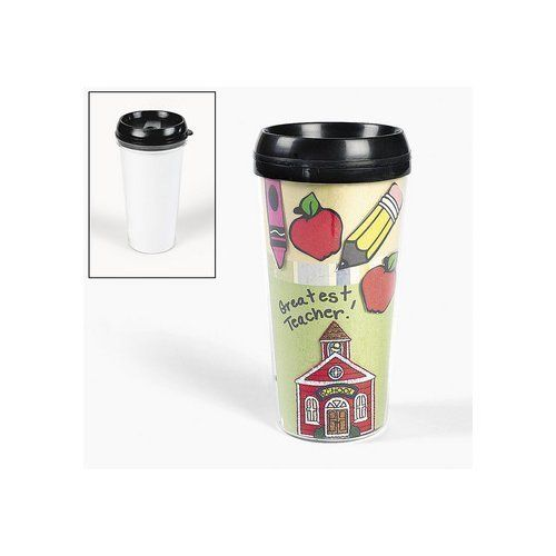 Design Your Own Travel Mug (6 mugs) [Toy] by Fun Express. $16.65. Children will love designing and painting this travel mug. This mug is an ideal gift for parents, teachers, or anyone special in the child's life. Age Recommendation Ages 5 & Up: Containing medium-sized pieces with the occasional angular edge, these lightweight to sturdy crafts may require some assembly such as stringing beads or gluing items to create a 3-dimensional project.
