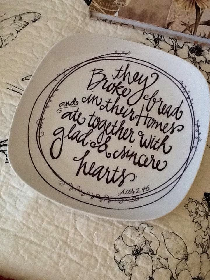 putting scripture and sayings on plates.  i like the circular decoration on the square plate! Lindsay Ostrom