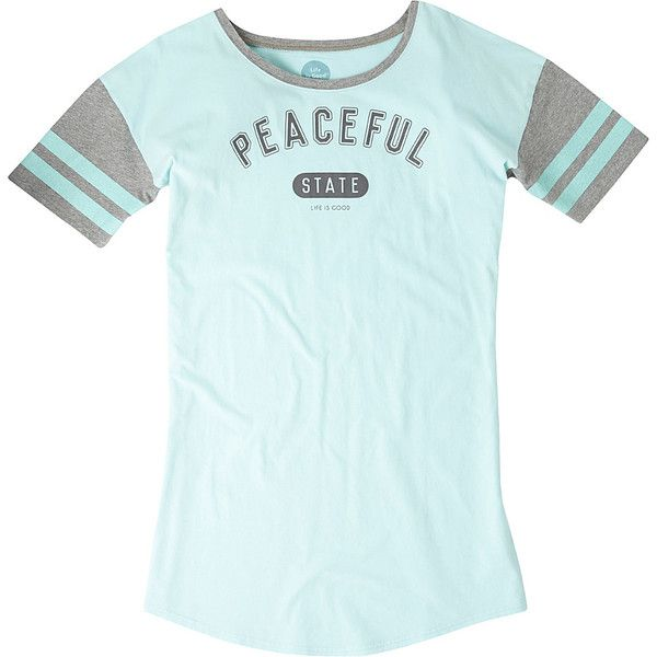 Life is good Women's Knit Sleep Shirt Shirt ($32) ❤ liked on Polyvore featuring intimates, sleepwear, pajamas, apparel, green, women's apparel, sleep shirts, night shirt, life is good pjs and knit sleepwear