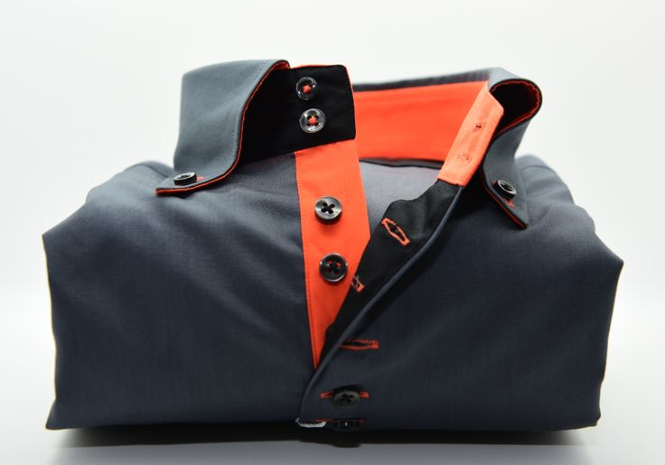 Men's Dark Grey Shirt with Orange Contrast | Italian Shirt – 7camicie shirts