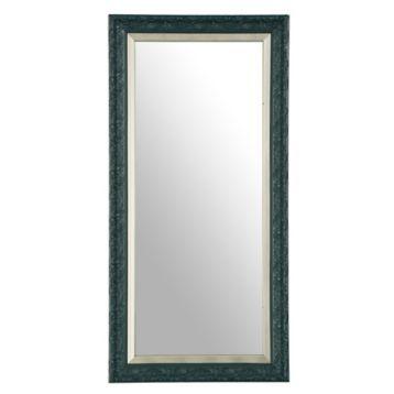 Embossed Peacock Blue Framed Mirror, 13x27