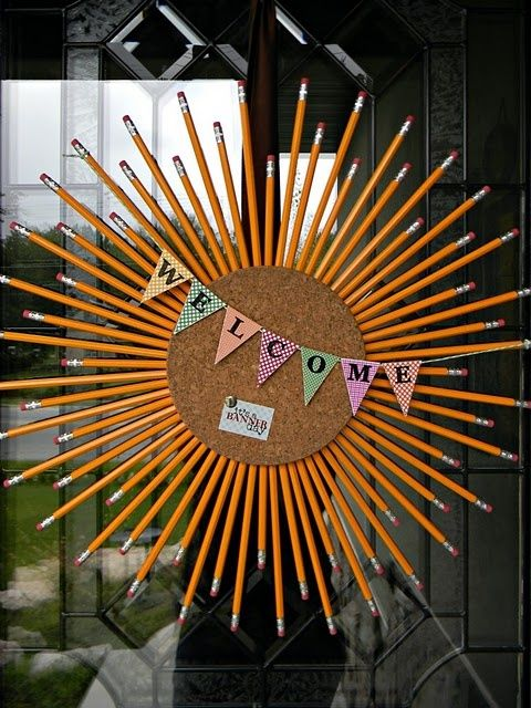 Cool things to make with school supplies  | Pencil starburst wreath | | pencils   back to school party