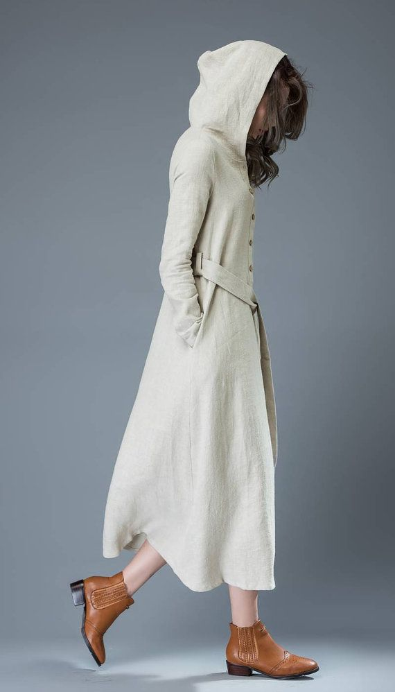 Gray Hooded Dress - Modern Buttoned Long Maxi Linen Coat Style Woman's Dress with Self-Tie Belt & Long Sleeves C814