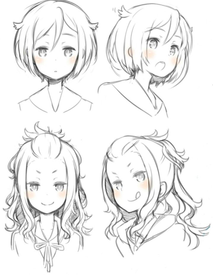 Girl Hairstyles  Pose/Position Reference --- Anime, Manga, Draw, Sketch