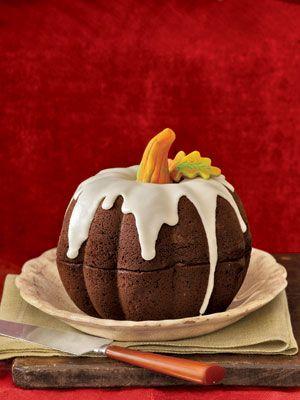 Pumpkin Cake with Marzipan Stem