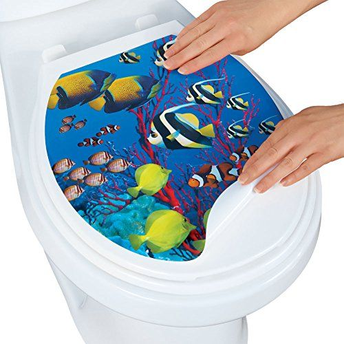 Coral Reef with Tropical Fish Toilet Tattoo, Oval - Made ...