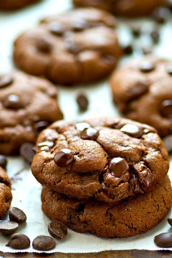Ultimately soft and loaded with a double-whammy of chocolate, you would never guess that these irresistible double chocolate chip cookies use coconut oil and are completely BUTTER-FREE!